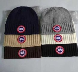 Wholesale Hats Wholesalers Canada - Fashion Unisex Spring Winter Canada Hats Goose Knitted Beanie Skull Caps Warm Outdoor Casual Skiing Keep Warm Protecting Hat