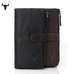 Wholesale Men Travel Purse - Wholesale- High Quality Genuine Leather Organizer Wallets Men Women Cowhide Real Leather Long Leather Zipper Coin Bag Card Travel Purse