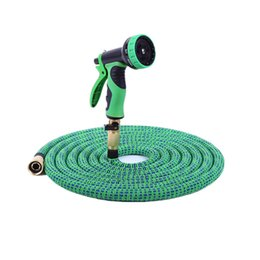 Wholesale Expanding Hose Green - 100 Feet Expand Garden Hoses Striped colors Double Latex core Irrigation Watering Expanding Flexible Garden Water Hoses