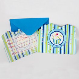 Wholesale Birthday Boy Party Themes - Wholesale- 12People Use Blue Ice Cream Theme Kid Boy Girl Baby Happy Birthday Party Decoration Kids Supplies Favors Invitation Cards