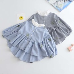 Wholesale Mandarin Dress Long Sleeved - New Spring Autumn stripe embroidery Girls Tops Blouses lace collar Shirt Dress Children Shirts Tops Long Sleeve T Shirts Kids Clothing A888