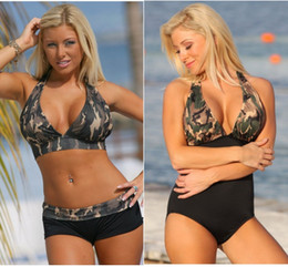 Wholesale Sexy Halter Swimsuit - 2017 New Sexy Halter Bikini Set Swimwear Women Push up Swimsuit Camouflage Print Beach Bathing Suits QP0208
