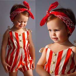 Wholesale Wear Summer Clothes For Winter - New Summer Baby Striped Overalls Jumpsuits Infants Toddlers Suspender Bloomers Rompers Babies Slip Onesies Clothes Wear Overalls For 0-3T