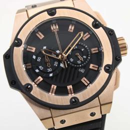Wholesale Big Batteries - factory supplier AAA luxury brand watches big size gold king power watch quartz chronograph stopwatch watch man's dress wristwatches
