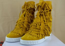 Wholesale Lime Green Wedge - New Womens Suede Leather Tassel High Top Sneakers,Brand wedge Boots Casual Shoes 35-46 Drop Shipping