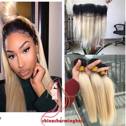 Wholesale 613 Blonde Closure - Two Tone 1B 613 Ombre Straight Virgin Hair Bundles With Lace Frontal Closure Dark Roots Blonde virgin Human Hair Weaves With Lace Frontal