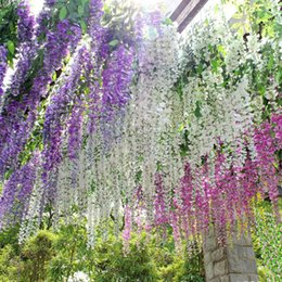Wholesale Wisteria Home Decor - 110cm Wisteria Wedding Decor 5 colors Artificial Decorative Flowers Garlands for Party Wedding Home For Free Shipping