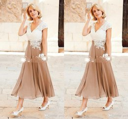 Wholesale Dresses For Mother Brides - 2017 A Line Mother Dresses V Neck Ankle Length Party Dresses For Mother Formal Wear with Cap Sleeve Mother of the Bride Dress