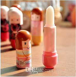 Wholesale Kimono Lip Balm - DHL Free Shipping Lip Balm Lipstick Cute Cartoon Lip Balm Kimono Doll Flavor Lip Balm Nourishing Moisturizing Women Xmas Gift DHL free ship