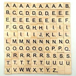 Wholesale Wood Tile Wholesale - 100Pcs set Wooden Alphabet Letters Tiles Black Scrabble Letters & Numbers For Crafts Wood