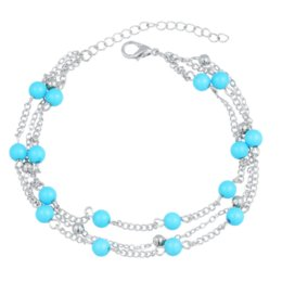 Wholesale Trendy Color Bracelets - BYSPT Vintage Gold Silver Color Multilayer Anklet Women Turquoise Beads Bohemian Ankle Bracelet cheville Boho Foot Jewelry