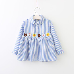 Wholesale Chiffon Kids Ruffle Tops - Everweekend Girls Bear Rabbit Duck Embroidered Striped Tees Lovely Kids Ruffles Button Turn-down Collar Fall Tops