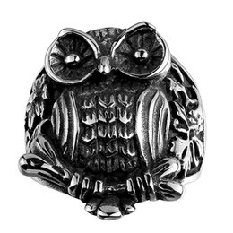 Wholesale American Owls - New Coming Vintage Men Stainless Steel Ring Black Owl Solitaire Christmas Halloween Gifts Free Shipping Size 8 9 10 11 GMYR092