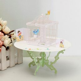 Wholesale Greeting Cards Supplies - Wholesale- 1pc Love Gift Greeting Card Desk Decor 3D Pop Up Greeting Card Table Bird Cage Shape Happy Birthday Gift Event Party Supplies