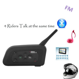 Wholesale Intercom Walkie Talkie Headsets - FM! 2017 1PC V4 1200M 4 Riders Helmet Intercom Motorcycle Bluetooth Headset Walkie Talkie Helmet BT Interphone Intercomunicador