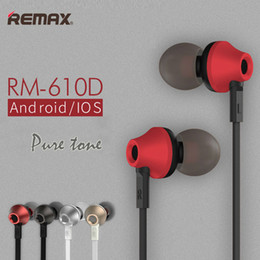 Wholesale Earphones Plug Cell Phone - Metal Stereo Earphone Remax RM-610D Wired Control Headsets Pure Tone Super Bass In Ear HiFi Headset with Mic Gold Plated 3.5mm Plug