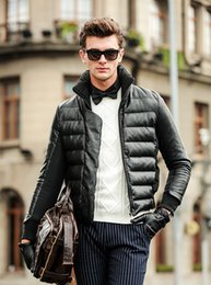 Wholesale high end down coats - Wholesale- Warm down Jacket winter men High-end Fashion solid jacket coat White duck down men's clothing down jackets 64