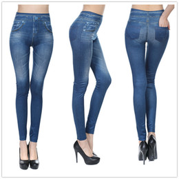 Wholesale Stretchy Women S Jeans - Wholesale- Fake Pockets Denim Seamless Sexy Women Jeans Skinny Leggings Stretchy Slim Leggings Fashion Skinny Pants Hot Sale