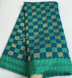 Argentina Tela de encaje 100% algodón verde azulado verde suizo africano encaje voile de alta calidad para hombres y mujeres Suministro