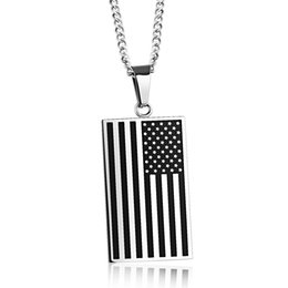 Wholesale Wholesale Man S Necklace Pendant - Hot fashion necklaces Creative American Flag Pendant necklaces Soldier tag personalized men s necklaces free shipping