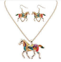 Wholesale Tibet Silver Turquoise Pendant Wholesale - 30set Fashion Ethnic Jewelry Sets Rainbow Horse Pendant Necklace Drop Earrings Gold Silver Colorful Drip Resin Charm Gift For Women F270