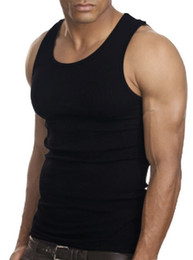 Wholesale Ribbed Cotton Tank - Wholesale- Muscle Men Top Quality 100 Premium Cotton A Shirt Wife Beater Ribbed Tank Top