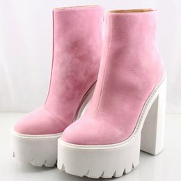 Wholesale Thick Sole Boots Heel - Original Quality Jeffrey Campbell Boots Platform Thick Sole Ankle Boots Genuine Leather Round Toe Zipper Jeffrey Campbell Ankle Boots
