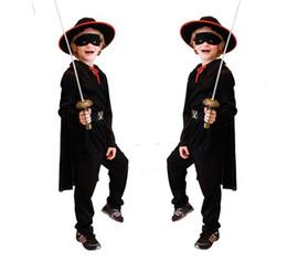 Wholesale Zorro Costume Kids - Boys Zorro cosplay costume includes jacket pants hat cape eyepatch belt