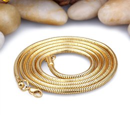 Wholesale Unique Chokers - Brand Men women Necklace Fashion Jewelry Wholesale 18k Gold Plated 3MM Unique Choker Long Snake Chain Classic