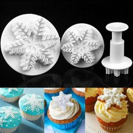 Wholesale Decorating Plunger - Snowflake Plunger Mold Fondant Cake Decorating Sugarcraft Cutter Mold Tools Cake Tools 3pcs set 400sets OOA2532