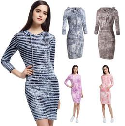 Wholesale Tie Dye Clothes Wholesale - Striped Hooded Dress Women Winter Long Sleeve Dresses Autumn Pocket Dress Fashion Tie-dye Casual Dress Blusas Women's Clothing OOA3187