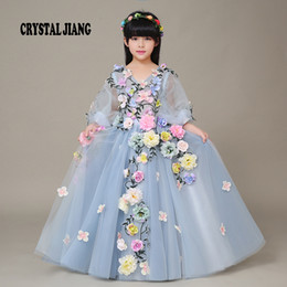 Wholesale Dress Wedding Tale - New Fashion 2017 Amazing Fairy Tale Half Sleeves Handmade Flowers Custom made Cheap Flower Girl Dresses