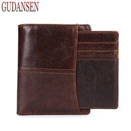 Wholesale Natural Leather Wallet - Luxury Vintage Cow Genuine Leather Wallet with Card Slot Vertical Men Short Wallets Natural Casual Fashion Mens Purse