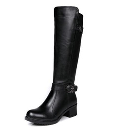 Wholesale Cowboy Boots Dresses - Hot sale women high heel boots ladies luxury chunky heel genuine leather shoes waterproof Martin boots dress fashion boots big size 34-40