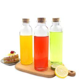 Wholesale Cork Lids - 350ml Glass Bottle Water Bottles with Cork Tea Coffee Milk Juice Glass Cup Bar Drinkware Portable Drink Bottle