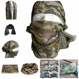 Netzmaske airsoft online-21 Styls Tactical Military Camouflage Schal Coole Airsoft Tactical Multifunktionale Armee Mesh Atmungsaktive Wickelmaske 200 STÜCKE YYA439