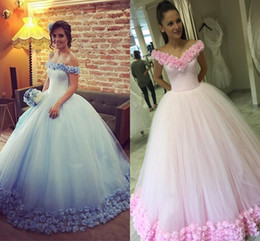 Wholesale Debutante Dresses Sleeves - Fairytale Ball Gown Quinceanera Dresses Bateau Neck Off Shoulder Tulle Flowers Light Sky Blue Pink Debutante Sweet Sixteen Dresses