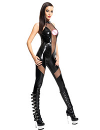 Wholesale Halter Mesh Jumpsuit - New Fashion Sexy Women Jumpsuit V Shape Mesh Halter Neck Sleeveless Club Overalls Gothic Catsuit Black Bodycon Bodysuit