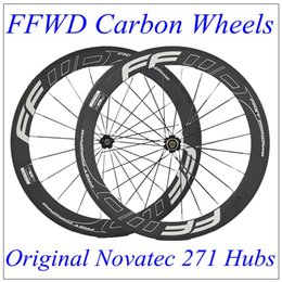 Wholesale Race Wheelset - 700C FFWD Carbon Road Wheelset 60mm Carbon Rims Bicycle Wheels Clincher Tubular Racing Cycling Kits Novatec 271 Hubs 20 24 Spokes