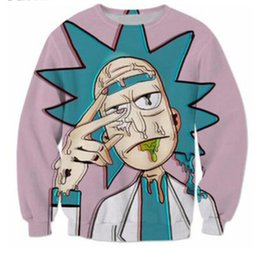 Wholesale Cartoon Yellow Jacket - New Fashion Couples Men Women Unisex Cartoon Rick and morty Funny 3D Print No Cap Jacket Hoodies Sweater Pullover Top W4