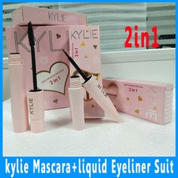 Wholesale 2in1 Eyeliner - In stock! the New pink Kylie Mascara & Liquid Eyeliner 2In1 Suit Super Good Quality waterproof Slender Thick Type DHL Free Shipping