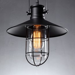 Wholesale Country Lamp Shades - Village Retro Ceiling Lights American Country Style Corridor Balcony Loft Lamp Iron Spray Painting Process Glass Lamp Shade