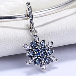 Wholesale Zodiac Pendant 925 - Wholesale 925 Sterling Silver Not Plated Snowflake Blue Pendant Charm European Charms Bead Fit Pandora Snake Chain Bracelet DIY Jewelry