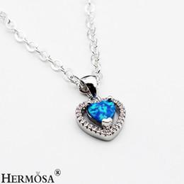 """Wholesale Heart Wood Pendants Jewelry - 925 Sterling Silver Pendants Necklace Gemstone Cubic Zirconia Blue Opal Heart Shape Promise Fashion Jewelry 3 4"""" inch"""