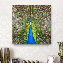 Wholesale Framed Office Wall Art - Green Peacock Elegant Animal Canvas Painting Mural Art Home Living Hotel Cafe Office Wall Art Decoration