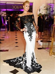 Wholesale Long Sleeved Hot Pink Dress - Sexy Long Evening Dresses Vestido Festa Longo 2017 Hot Sales Black and White Prom Dress Long Sleeved Evening Gowns Mermaid