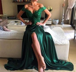 Wholesale Emerald Mermaid Prom Dress - 2017 Emerald Green Split Sexy Prom Dresses Off-Shoulder A Line Lace Elastic Satin Long With Bead Applique Long Plus Size Evening Gowns