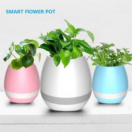 Wholesale Wholesale Music Eggs - Bluetooth Smart Music Flower Pots Touch Plant to Play Pinao Music Flowerpot Colorful Lights Plant Pots with LED Night Lights Rechargeable