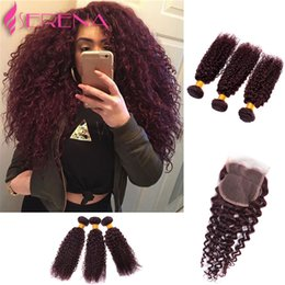 Wholesale Kinky Tights - Burgundy Virgin Brazilian Human Hair Weaving 3Pcs Tight Deep Curly Wine Red Hair Weave 99J Kinky Curl Hair Bundle Deep Wave With Closure
