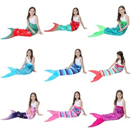 Wholesale Black Sofa Beds - 13Colors 56x135cm Mermaid Tail Blanket Sleeping Bags Sofa Nap Printed Warmer Bedding Air Condition Blankets Party Decoration